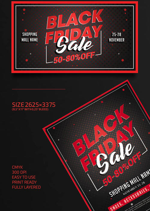 Black Friday Sale Flyer PSD Template + Facebook Cover
