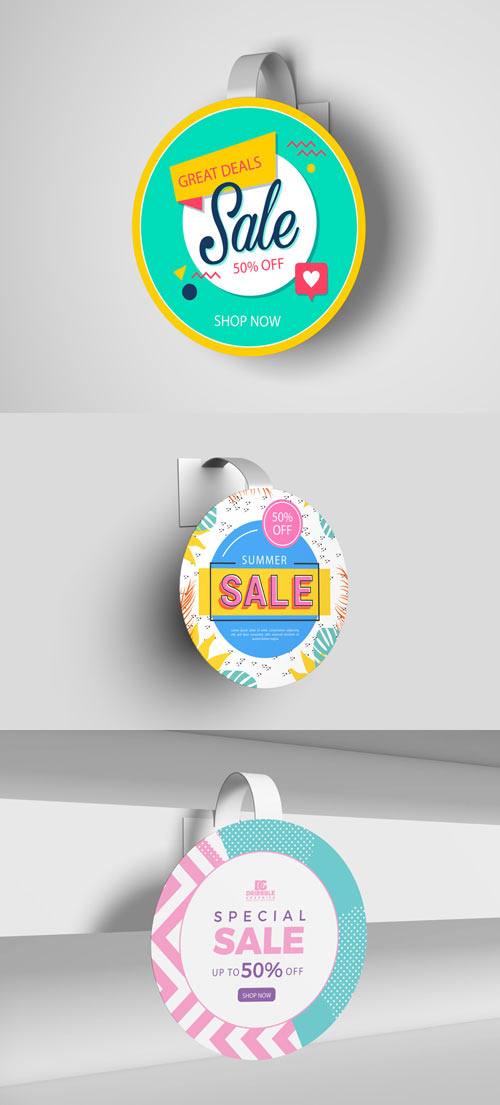 5 Advertising Wobbler PSD Mockups