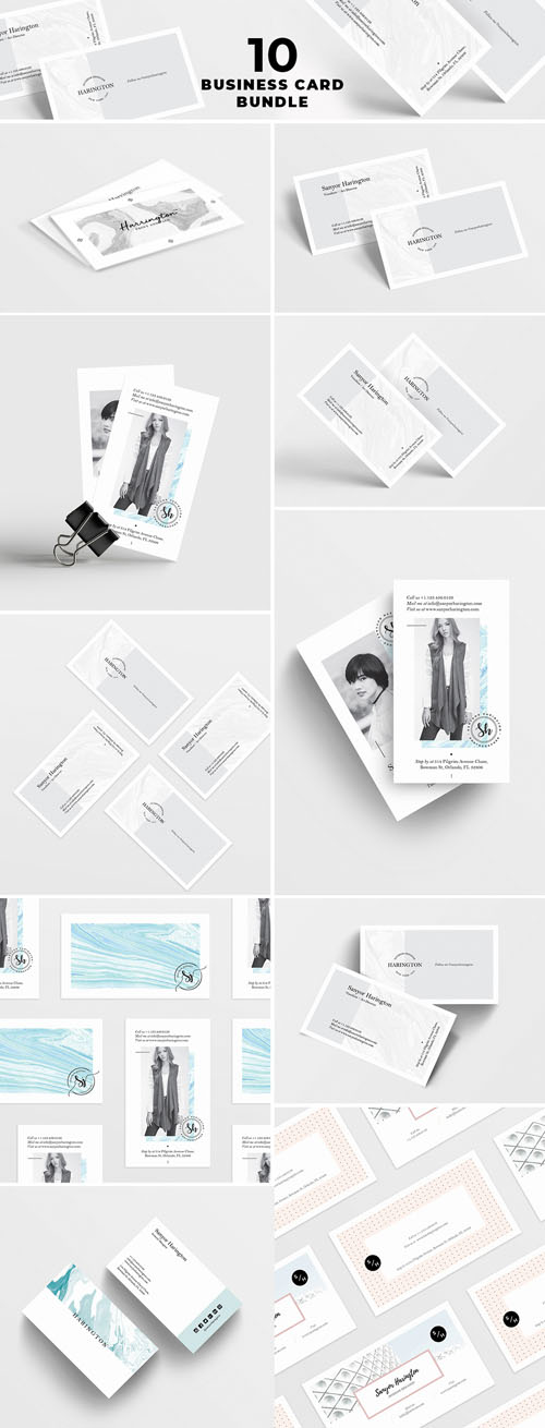 10 Business Card PSD Mockup Bundle