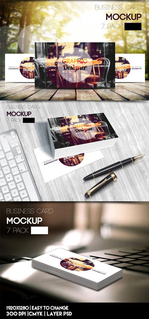 7 Packs of Business Card PSD Mockups