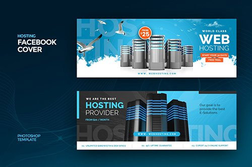 Hosting Facebook Cover Template PSD