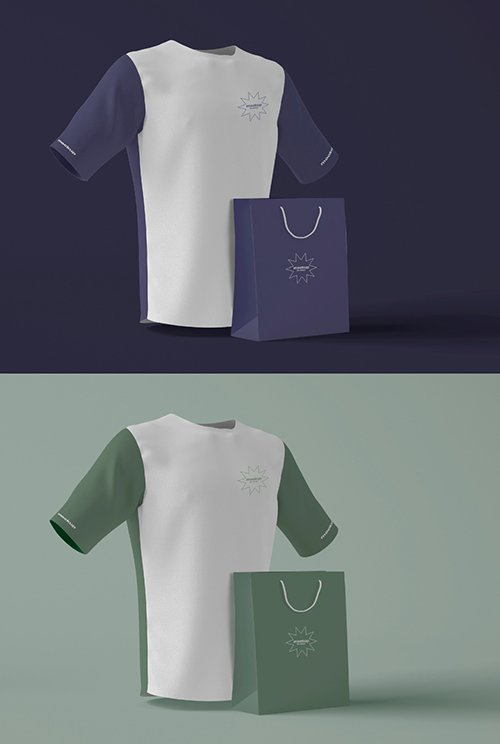 3D T-Shirt with Bag Mockup 343942306