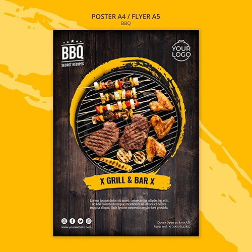 Poster concept template with bbq