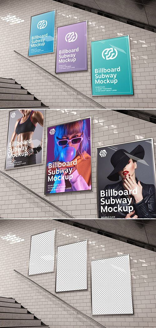 Billboards on Underground Stairs Wall Mockup 350354422