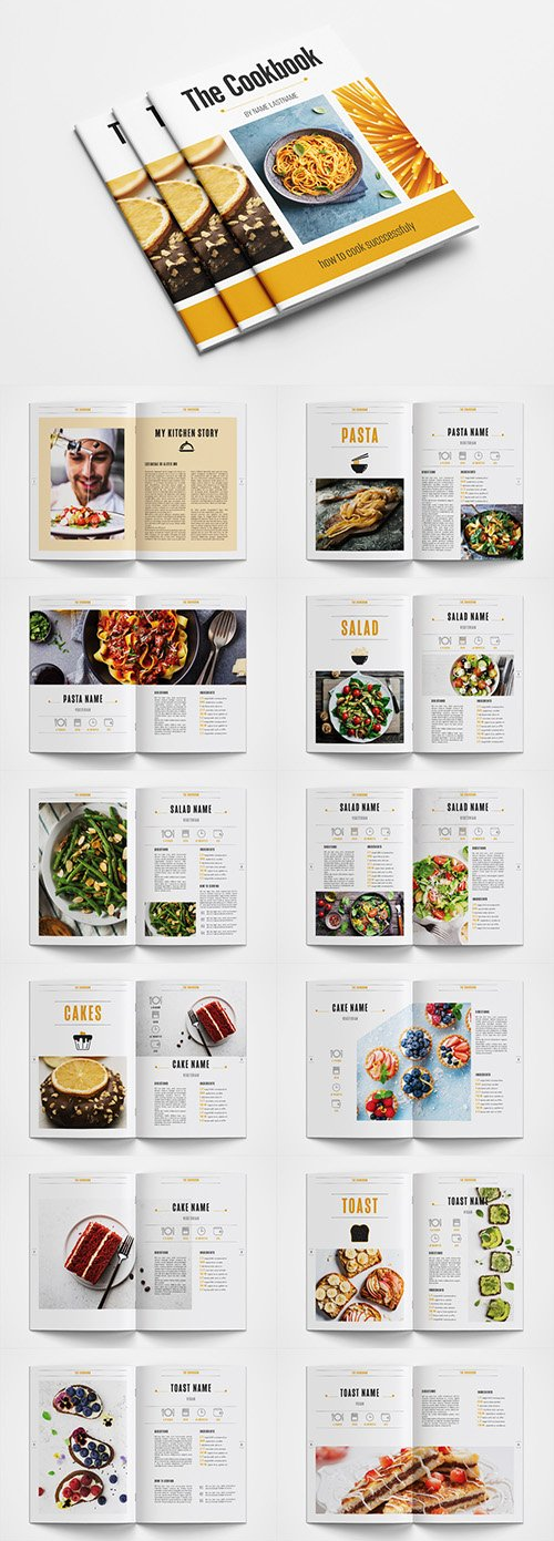 Cookbook Layout with Orange Accents 346283431