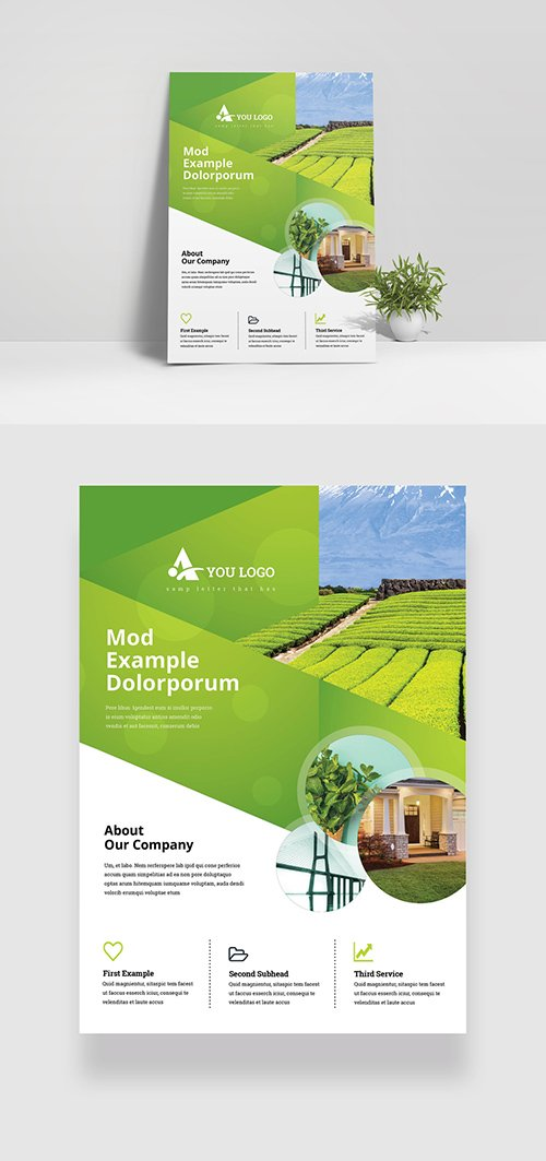 Creative Green Flyer Layout with Cricle Elements 349035451