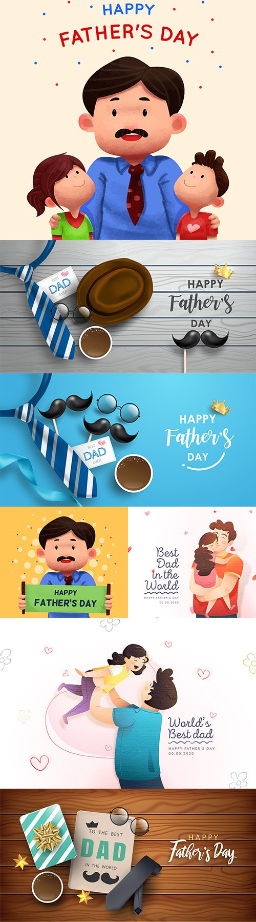 Happy Father 's Day design greeting card and banner 5