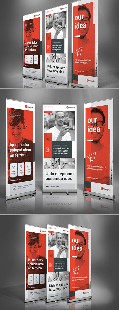 Light Gray and Red Roll-Up Banner Layout 322330510