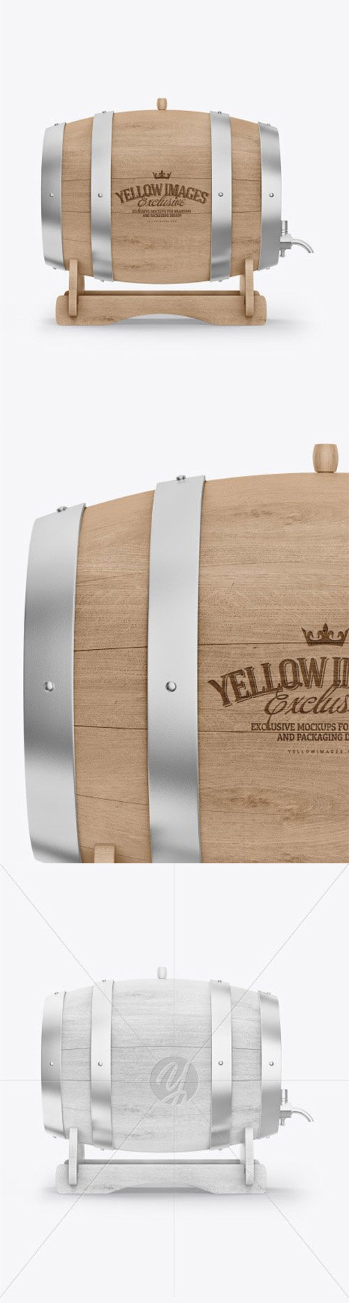 Wooden Barrel on Stand Mockup 64239