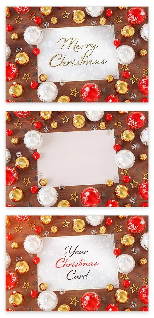 Christmas Card on Wooden Desk with Ornaments Mockup