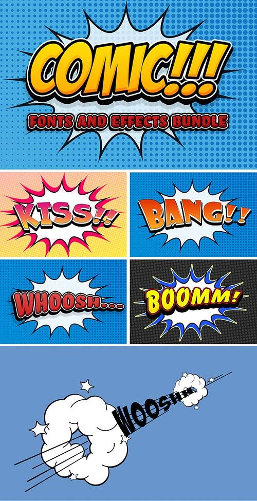 Comic Text Effect Mockup Bundle with Graphic Elements