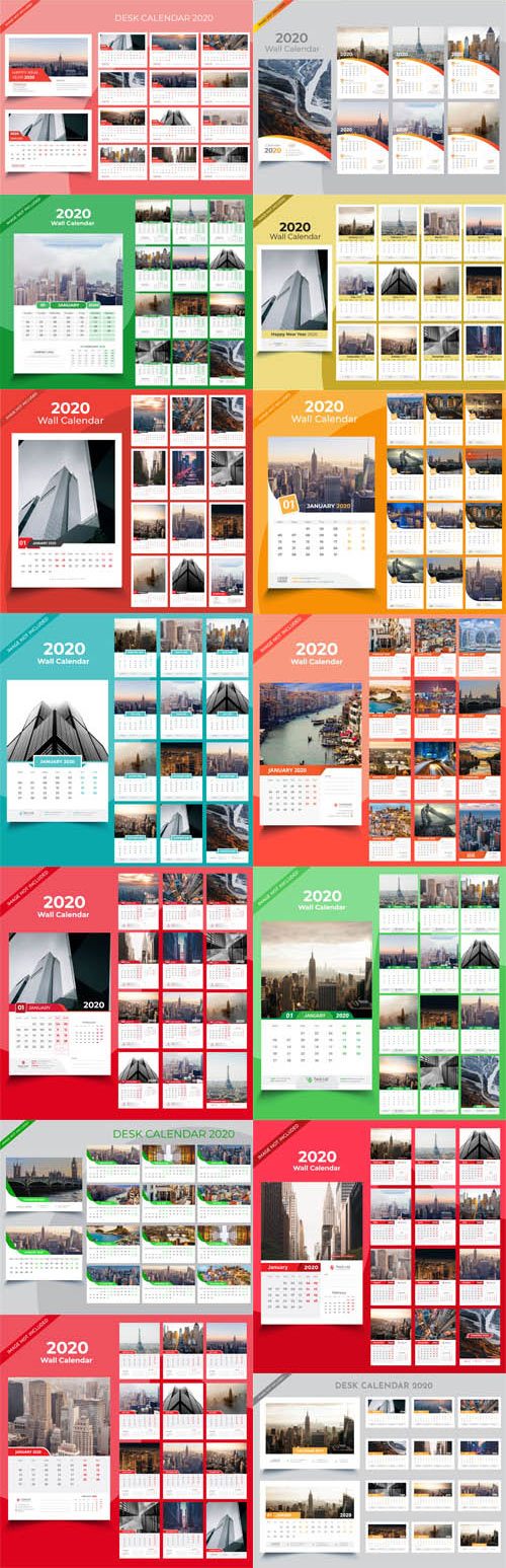 26 Calendar for 2020 Collection in Vector