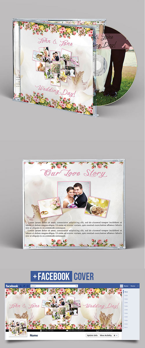 Wedding CD/DVD Cover - Free PSD Brochure Template + Facebook Cover
