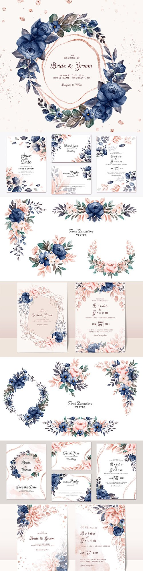 Wedding invitation template watercolor flower and green leaves 10