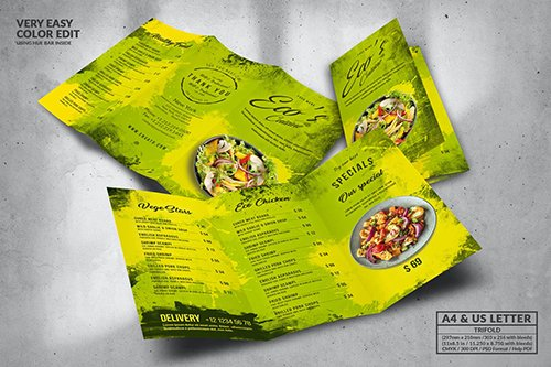 Eco Food Menu Design A4 & US Letter