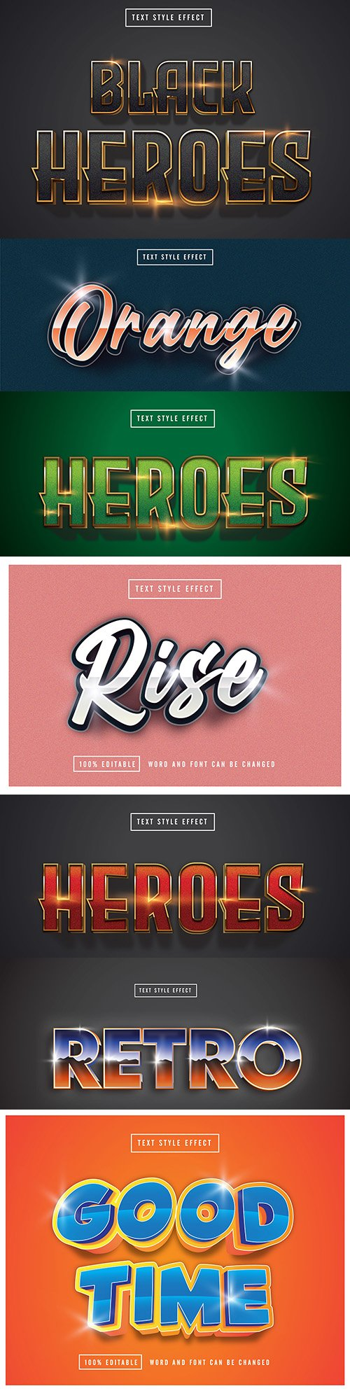 Editable font effect text collection illustration design 190