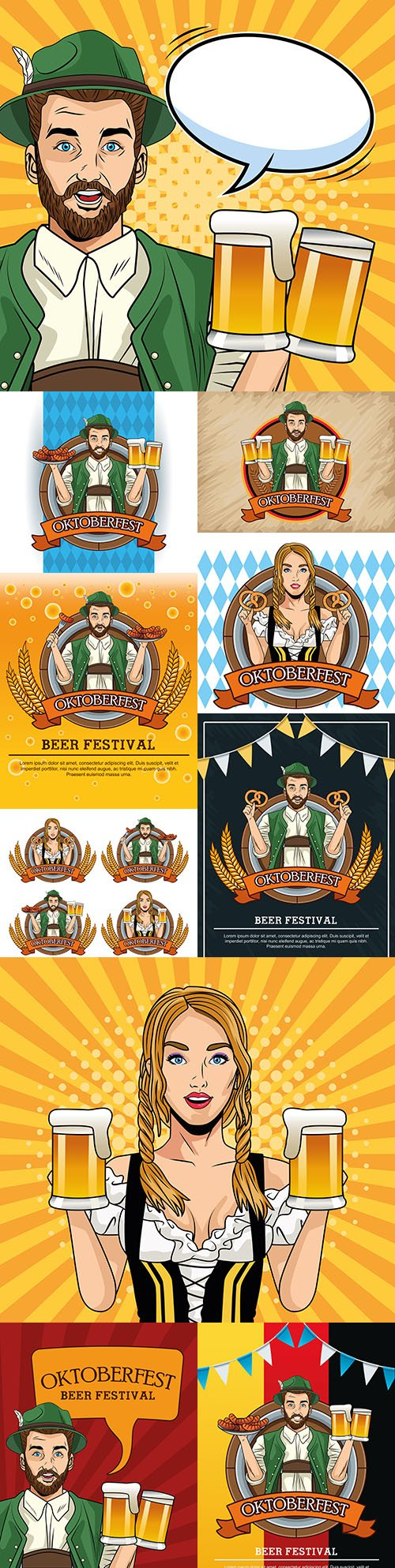 Oktoberfest festival beer party vintage illustration 6
