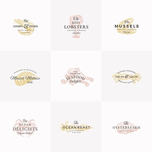 Premium seafood abstract signs, symbols or logo templates set
