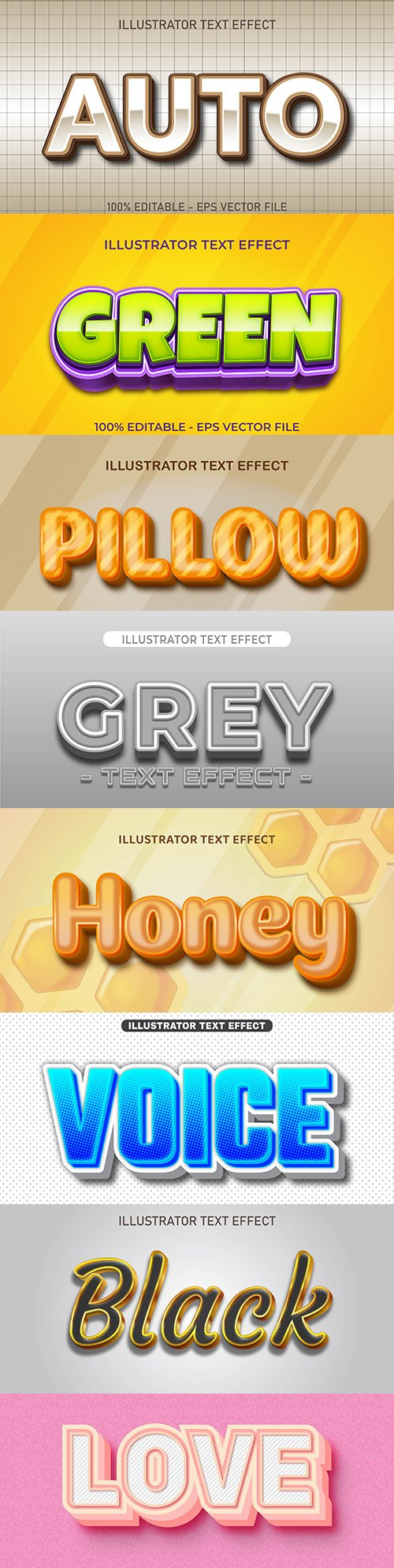 Editable font effect text collection illustration design 195