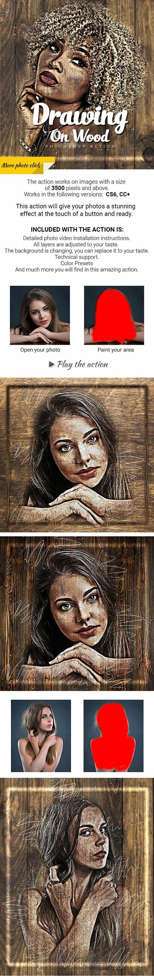 Drawing on Wood Photoshop Action 27545130