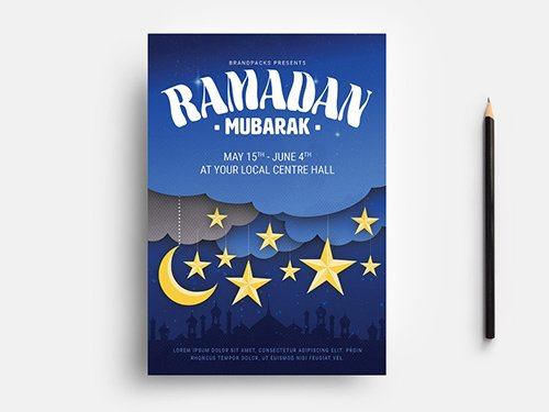 Ramadan Flyer Layout with Starry Sky and Mosque Illustrations