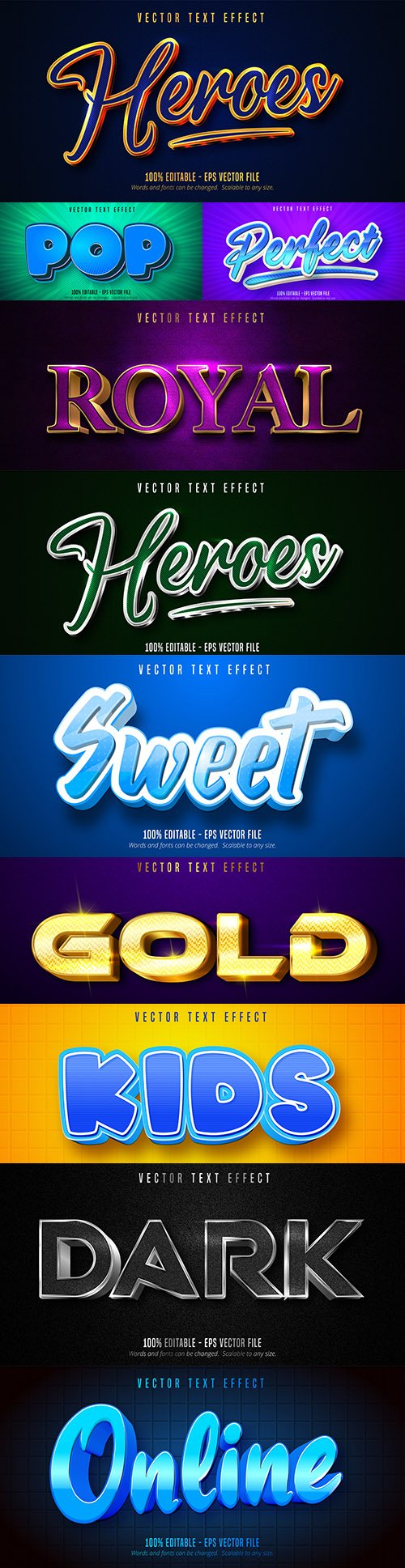 Editable font effect text collection illustration design 197