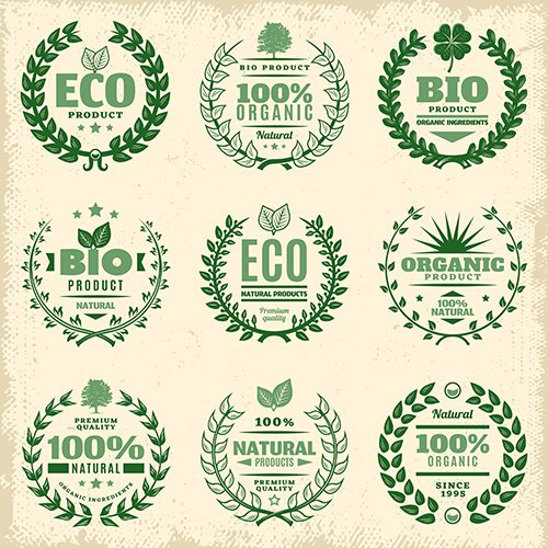 Vintage Green Eco Product Labels Set