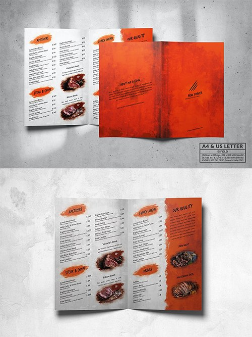 Bifold Food Menu Design A4 & US Letter