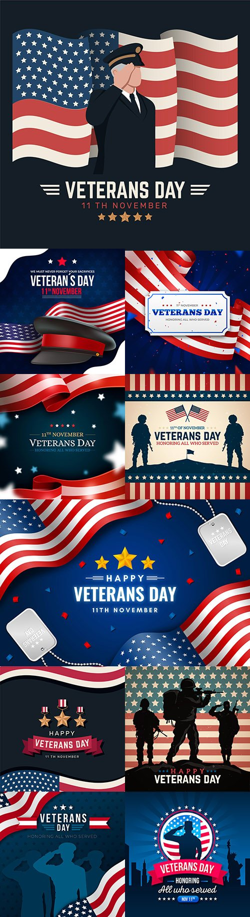Veterans Day holiday design flat style illustration