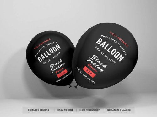 Realistic balloon black friday mockup