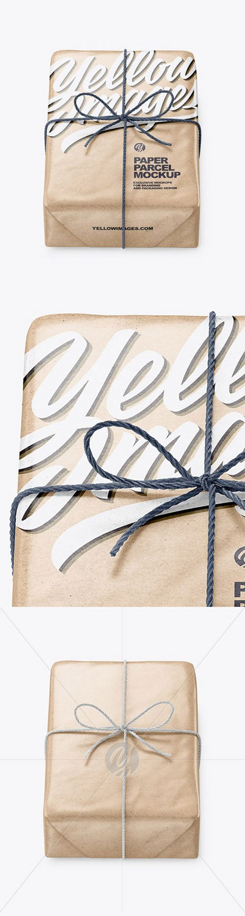 Kraft Paper Parcel With Row Bow Mockup