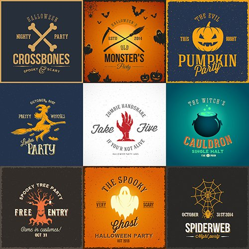 Vintage Halloween Party Cards Labels or Logos Set