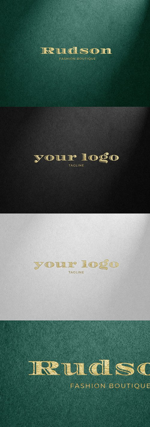 Gold Hot Foil and Fabric/Paper Texture Effect Mockup
