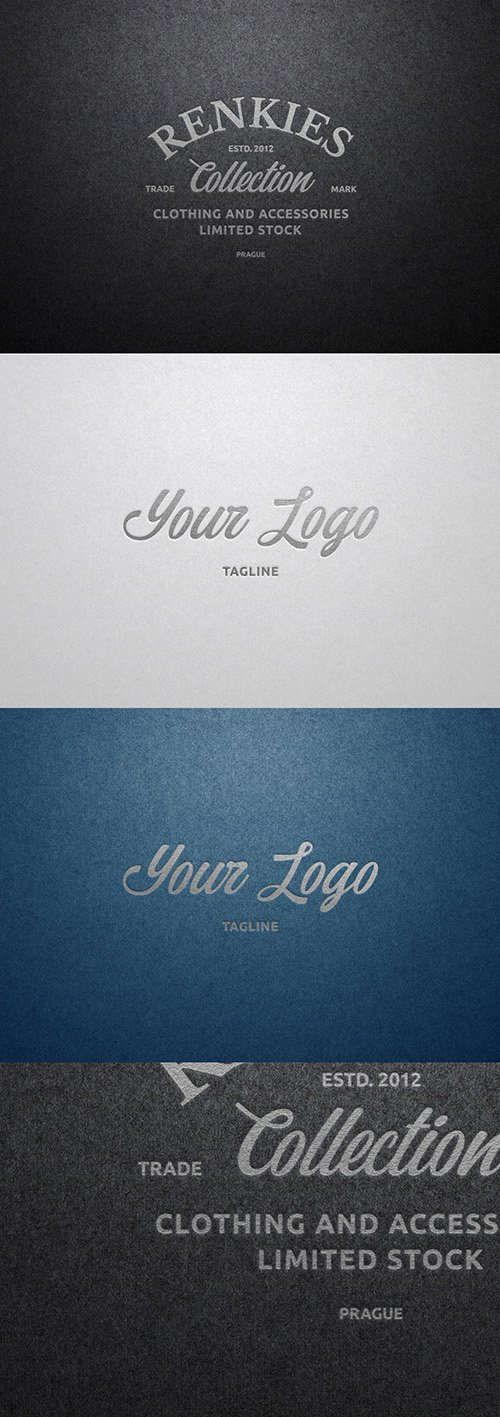 Silver Hot Foil and Paper Texture Effect Mockup