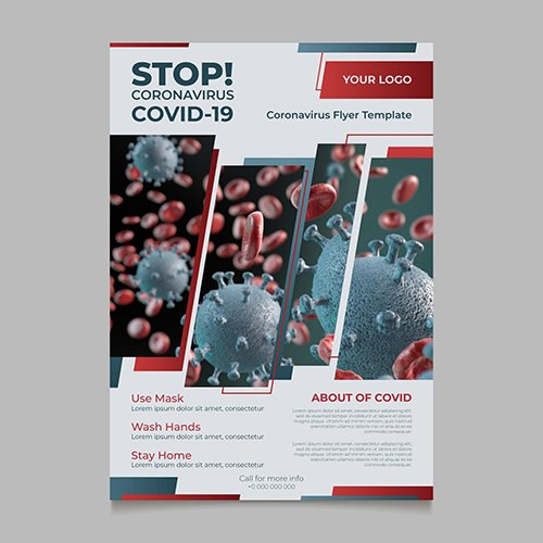 Informative coronavirus flyer with photo
