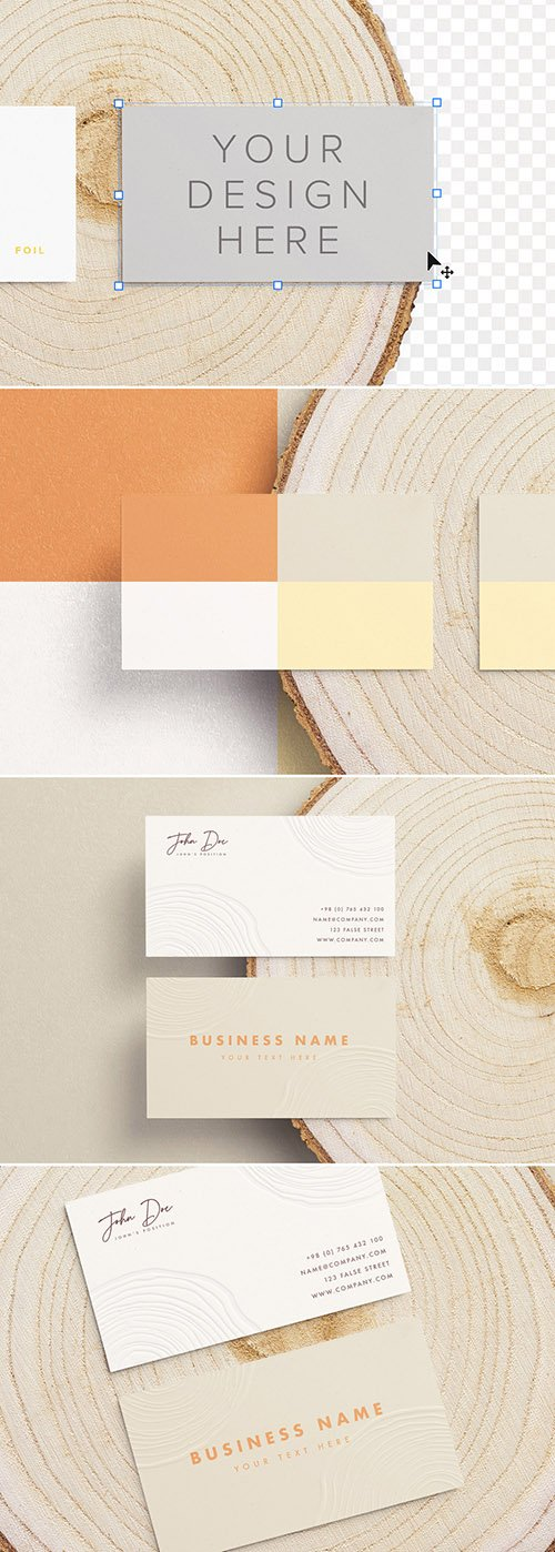 Business Cards on a Wooden Cut Mockup