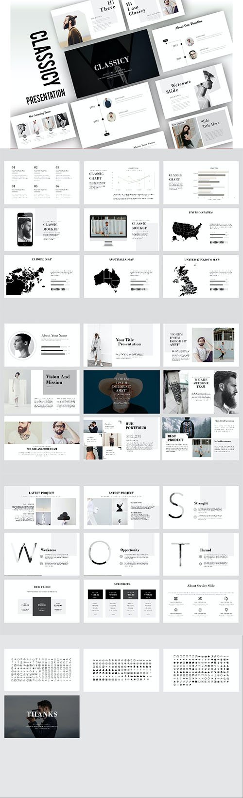 Classicy Minimal PowerPoint, Keynote and Google Slides