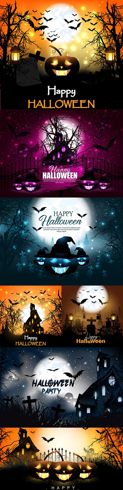 Halloween pumpkin and bat illustration horror