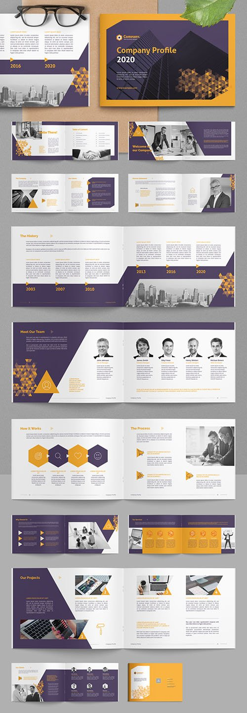 Company Profile Brochure Layout with Yellow Gradient Triangle Elements