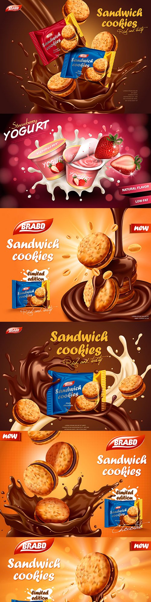 Sandwich and delicious cookies in chocolate liquid with splash