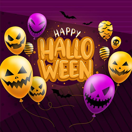 Happy halloween background template balloons