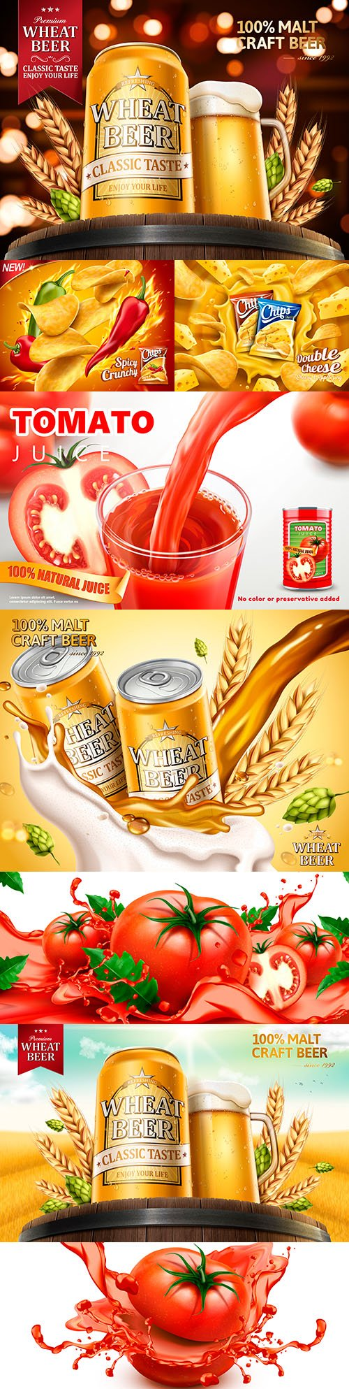 Advertising wheat beer and food design illustration