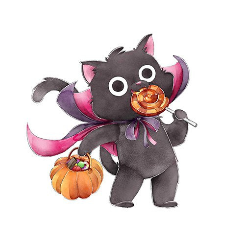 Black Cat Eating Candies Happy Halloween