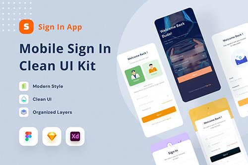 Mobile Sign In Clean UI Kit