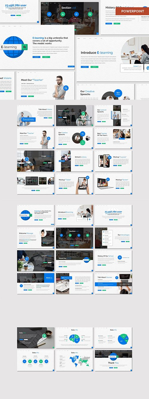 E Learning - Education Powerpoint, Google Slides and Keynote Template