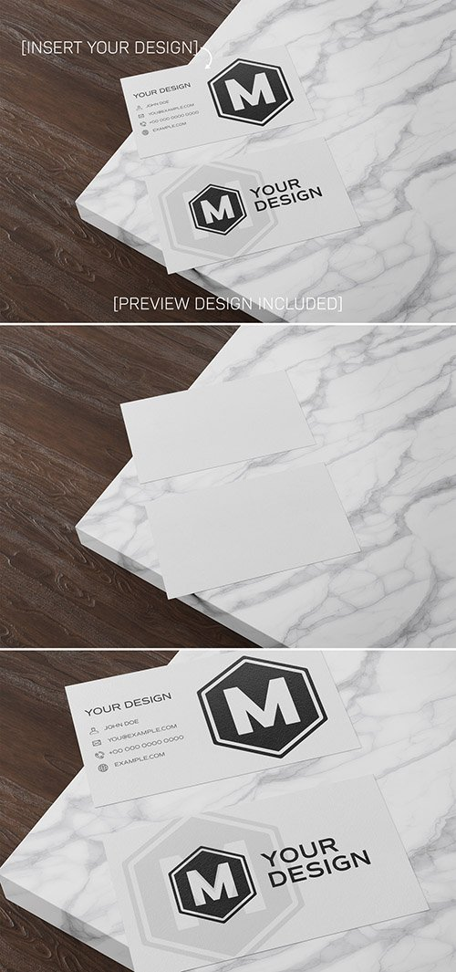 Business Cards on Wooden and Marble Surface Mockup