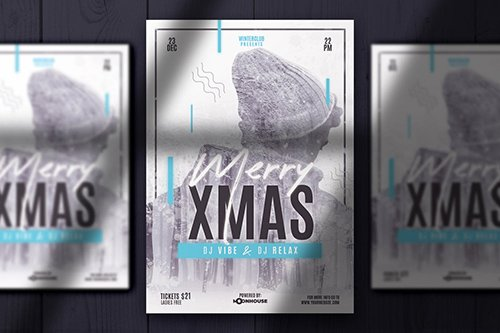Christmas Double Exposure Flyer PSD