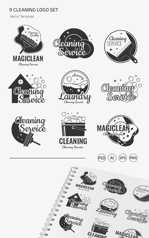 Cleaning Logo Vector Templates