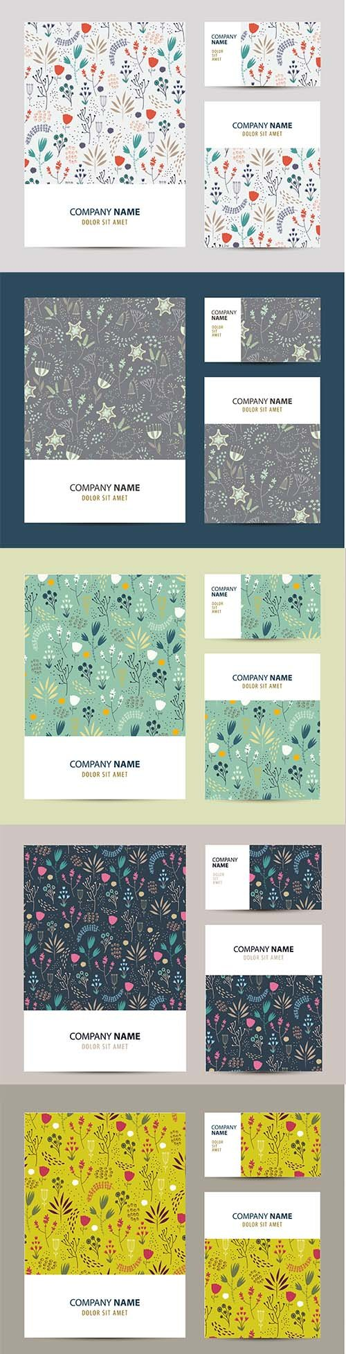 Business set template with hand-drawn flower pattern