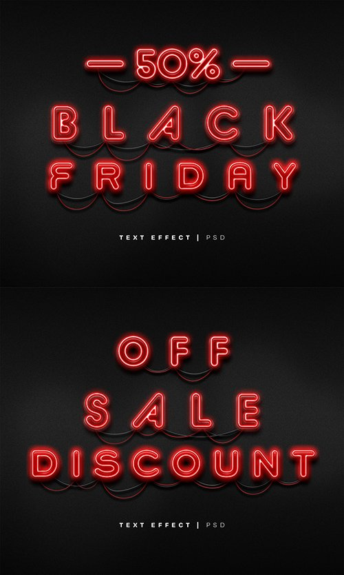 Black Friday Neon Text Effect Mockup